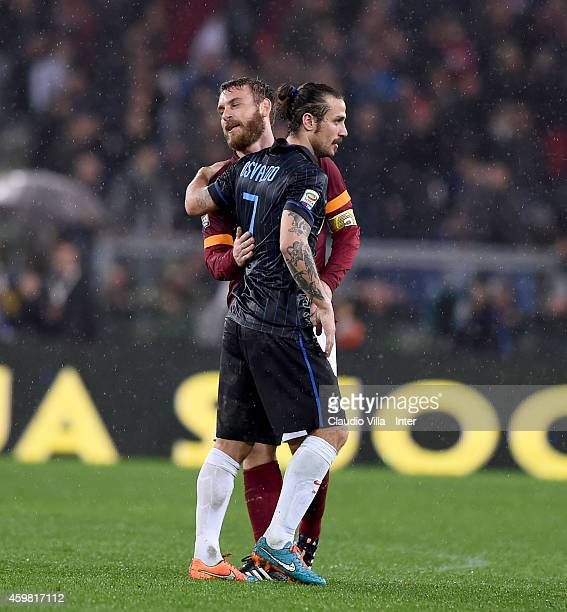 Pablo Daniel Osvaldo of FC Internazionale and Daniele De Rossi of AS Roma during the Serie A match between AS Roma and FC Internazionale Milano at...