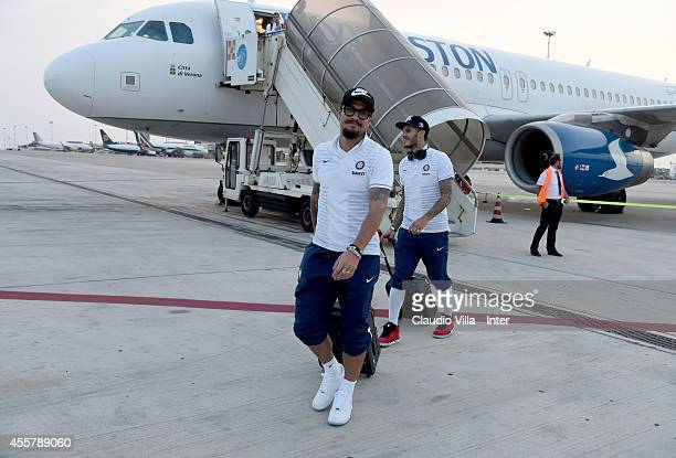 Pablo Daniel Osvaldo of FC Internazionale arrives at Palermo airport on September 20 2014 in Palermo Italy