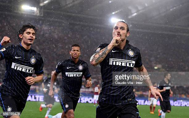 Pablo Daniel Osvaldo of FC Internazionale celebrates after scoring the second goal during the Serie A match between AS Roma and FC Internazionale...