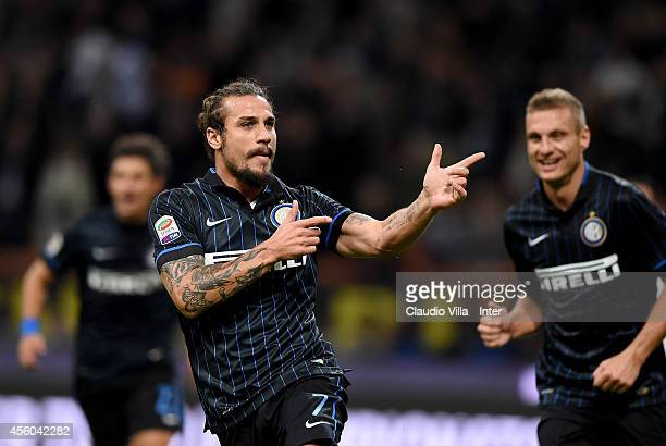 Pablo Daniel Osvaldo of FC Internazionale celebrates scoring the first goal during the Serie A match between FC Internazionale Milano and Atalanta BC...