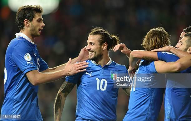 Pablo Daniel Osvaldo of Italy celebrates during the FIFA 2014 world cup qualifier between Denmark and Italy on October 11 2013 in Copenhagen Denmark
