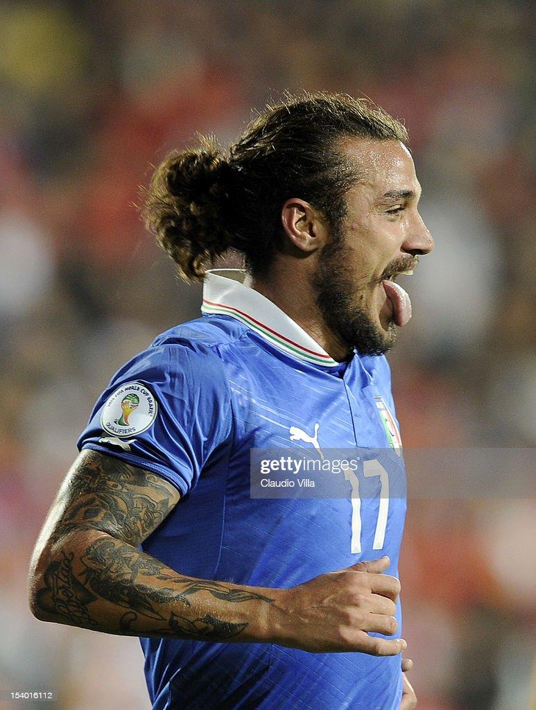 Pablo Daniel Osvaldo of Italy #17 celebrates scoring the third goal during the FIFA 2014 World Cup Qualifier group B match between Armenia and Italy at Hrazdan Stadium on October 12, 2012 in Yerevan, Armenia.
