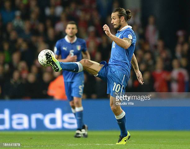 Pablo Daniel Osvaldo of Italy in action during the FIFA 2014 world cup qualifier between Denmark and Italy on October 11 2013 in Copenhagen Denmark