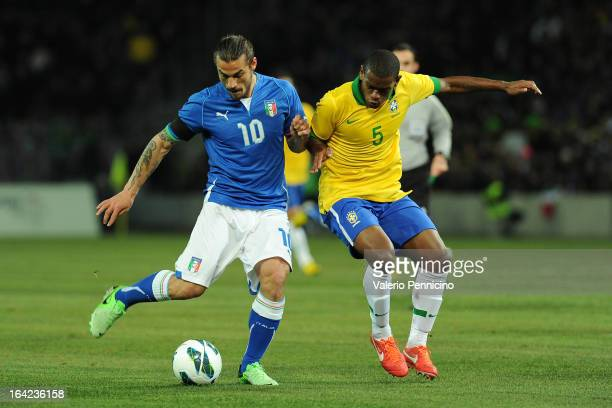 Pablo Daniel Osvaldo of Italy is challenged by Fernando of Brazil during the international friendly match between Italy and Brazil on March 21 2013...