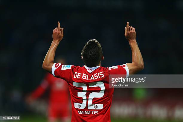 Pablo de Blasis of Mainz celebrates his team's third goal during the Bundesliga match between SV Darmstadt 98 and 1FSV Mainz 05 at MerckStadion am...