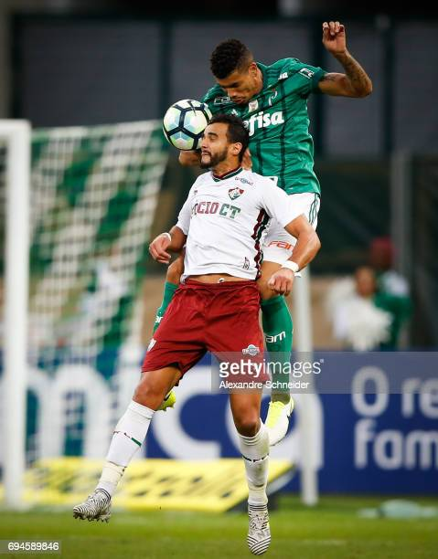 Pablo Escobar of Palmeiras and Thiago Maia of Fluminense in action during the match between Palmeiras and Fluminense for the Brasileirao Series A...