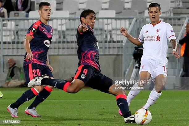 Pablo for FC Girondins de Bordeaux and Philippe Coutinho for Liverpool FC battle for the ball during the Europa League game between FC Girondins de...