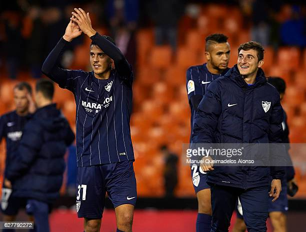 Pablo Fornals of Malaga applauds the fans at the end of the La Liga match between Valencia CF and Malaga CF at Mestalla Stadium on December 04 2016...