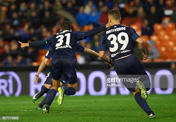 Pablo Fornals of Malaga CF celebrates after scoring during the La Liga match between Valencia CF vs Malaga CF at Estadio de Mestalla on december 4...