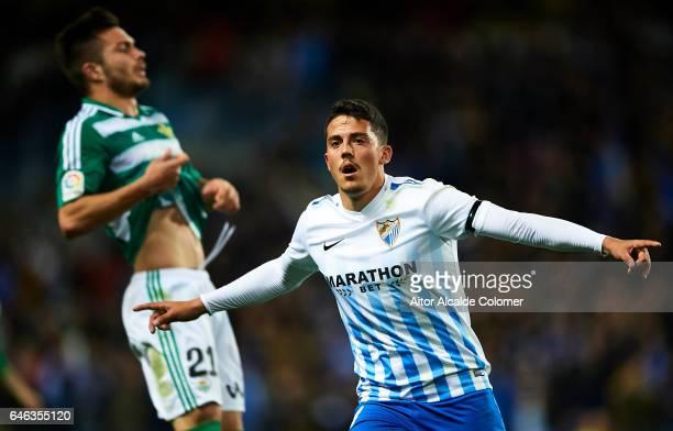Pablo Fornals of Malaga CF celebrates after scoring the first goal of Malaga CF during La Liga match between Malaga CF and Real Betis Balompie at La...