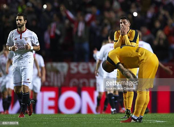 Pablo Fornals of Malaga CF reacts afters Sevilla FC scored by Wissam Ben Yedder of Sevilla FC during the La Liga match between Sevilla FC and Malaga...