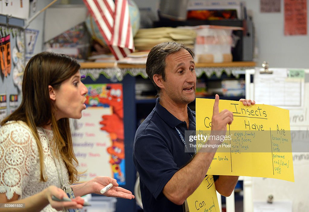Pablo Giudici right from Argentina teaches coteaches first graders with Caroline Mazzotta at Potomac View Elementary School in Woodbridge VA April 22...