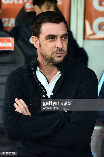 Pablo Guede coach of San Lorenzo looks on prior a group stage match between San Lorenzo and Toluca as part of Copa Bridgestone Libertadores 2016 at...