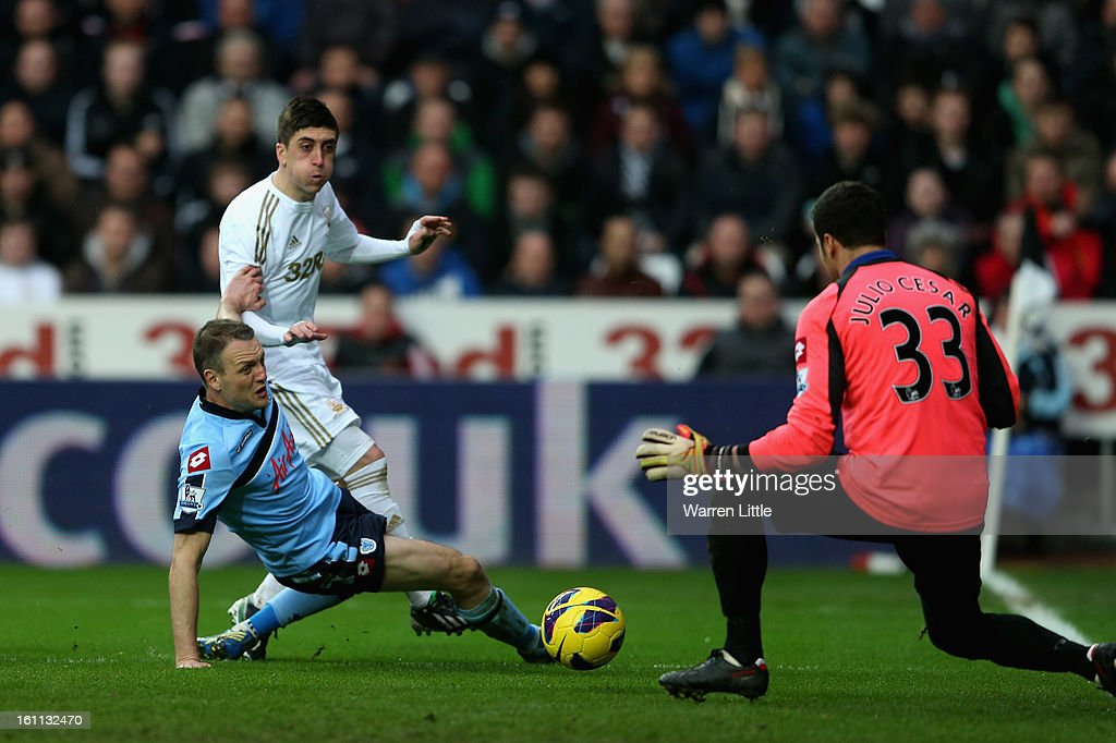 Pablo Herandez of Swansea scores the third goal during the Premier League match between Swansea City and Queens Park Rangers at Liberty Stadium on February 9, 2013 in Swansea, Wales.