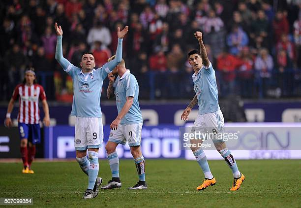 Pablo Hernandez of Celta Vigo celebrates with Iago Aspas after scoring his team's 3rd goal during the Copa del Rey Quarter Final 2nd Leg match...