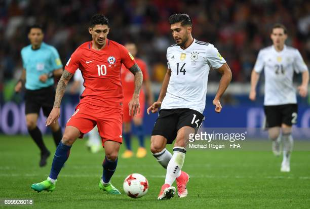 Pablo Hernandez of Chile and Emre Can of Germany battle for possession during the FIFA Confederations Cup Russia 2017 Group B match between Germany...