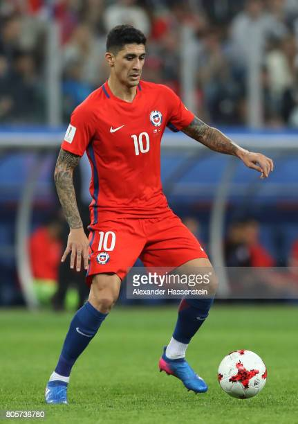 Pablo Hernandez of Chile in action during the FIFA Confederations Cup Russia 2017 Final between Chile and Germany at Saint Petersburg Stadium on July...