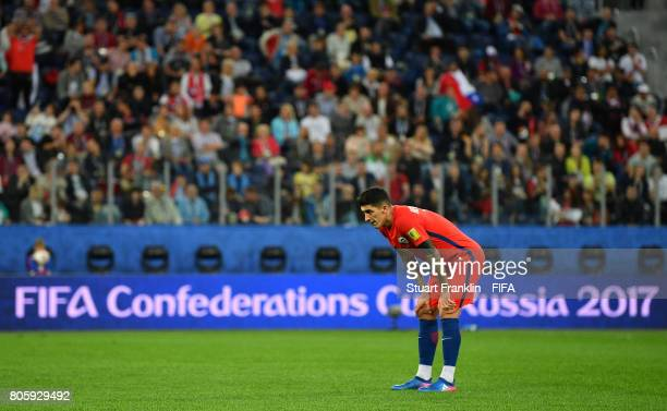 Pablo Hernandez of Chile looks dejected during the FIFA Confederations Cup Russia 2017 Final match between Chile and Germany at Saint Petersburg...