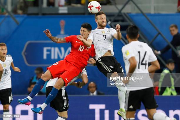 Pablo Hernandez of Chile national team and Shkodran Mustafi of Germany national team vie for a header during FIFA Confederations Cup Russia 2017...