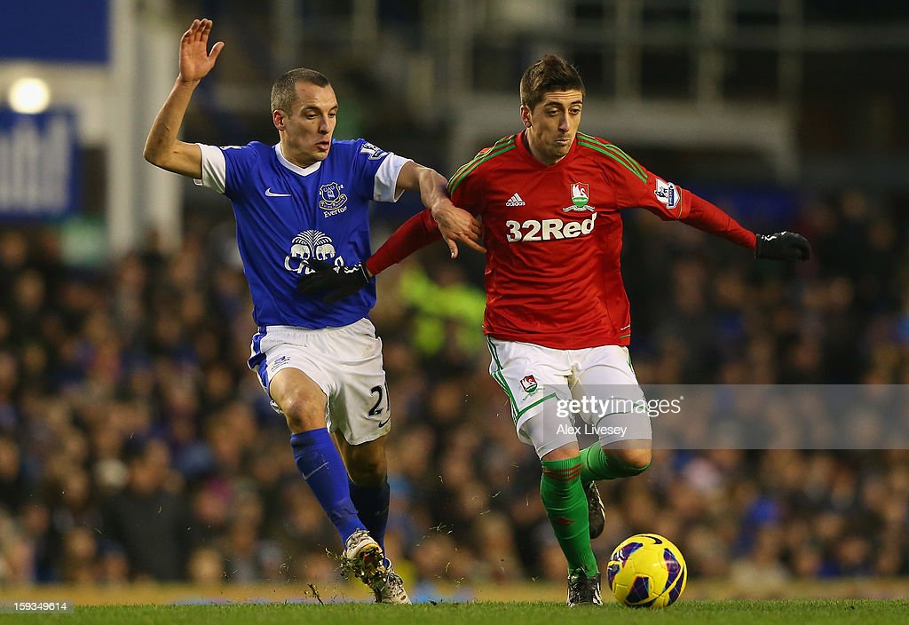 Pablo Hernandez of Swansea City holds off a challenge from <a gi-track='captionPersonalityLinkClicked' href=/galleries/search?phrase=Leon+Osman&family=editorial&specificpeople=208939 ng-click='$event.stopPropagation()'>Leon Osman</a> of Everton during the Barclays Premier League match between Everton and Swansea City at Goodison Park on January 12, 2013 in Liverpool, England.