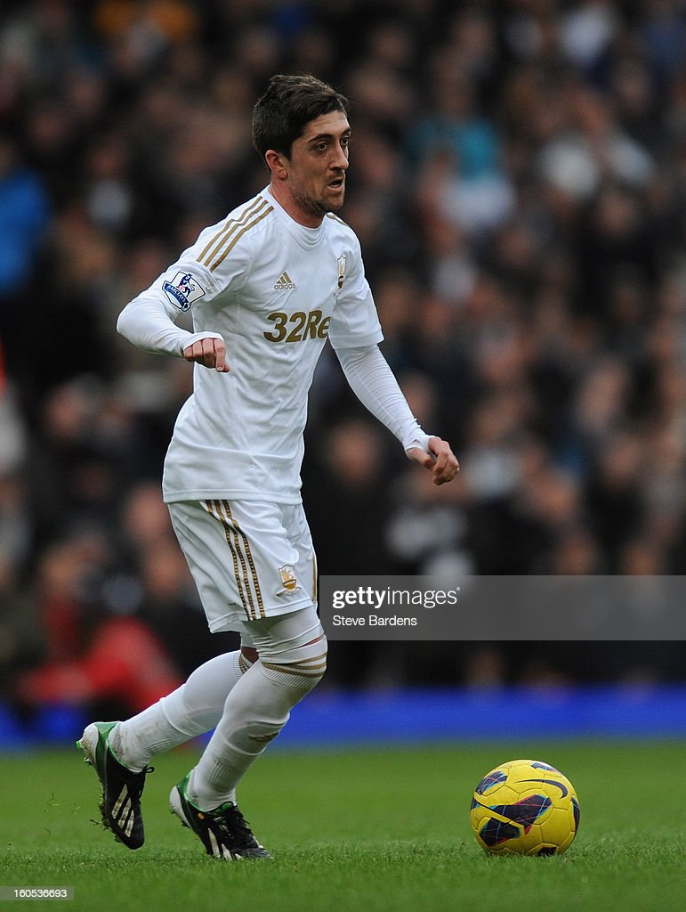 Pablo Hernandez of Swansea City in action during the Barclays Premier League match between West Ham United and Swansea at the Boleyn Ground on February 2, 2013 in London, England.