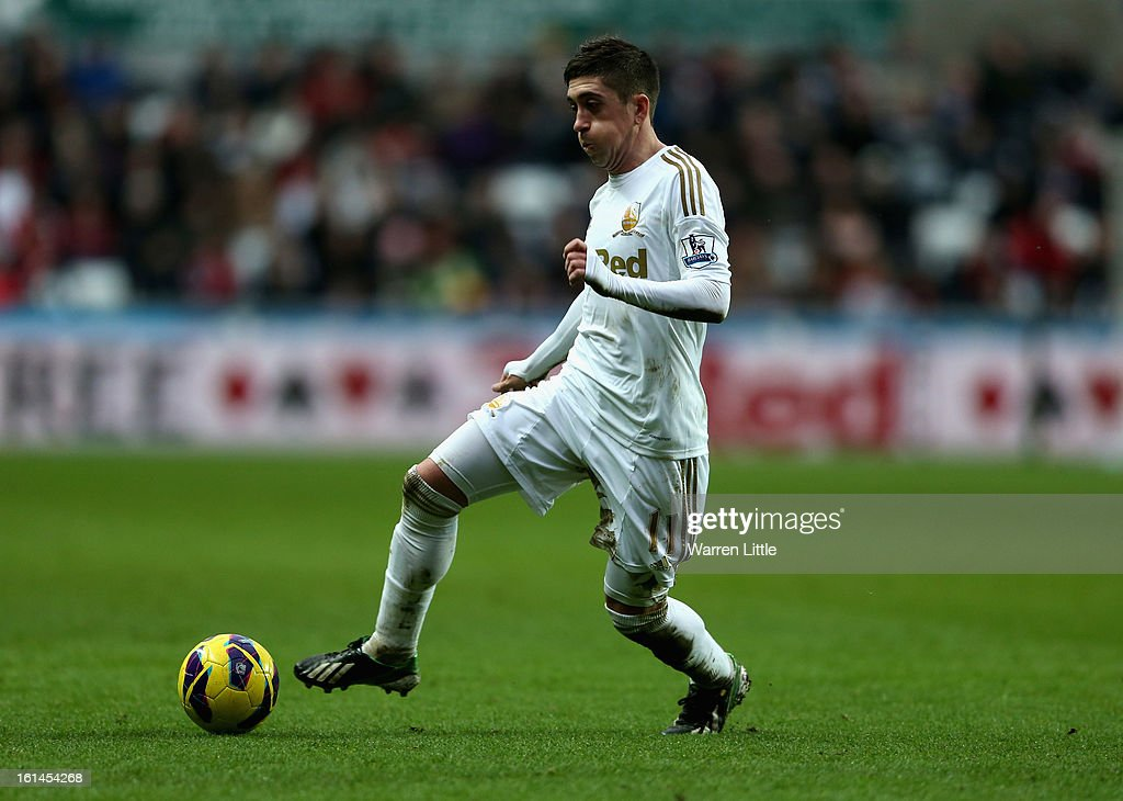 Pablo Hernandez of Swansea City in action during the Premier League match between Swansea City and Queens Park Rangers at Liberty Stadium on February 9, 2013 in Swansea, Wales.