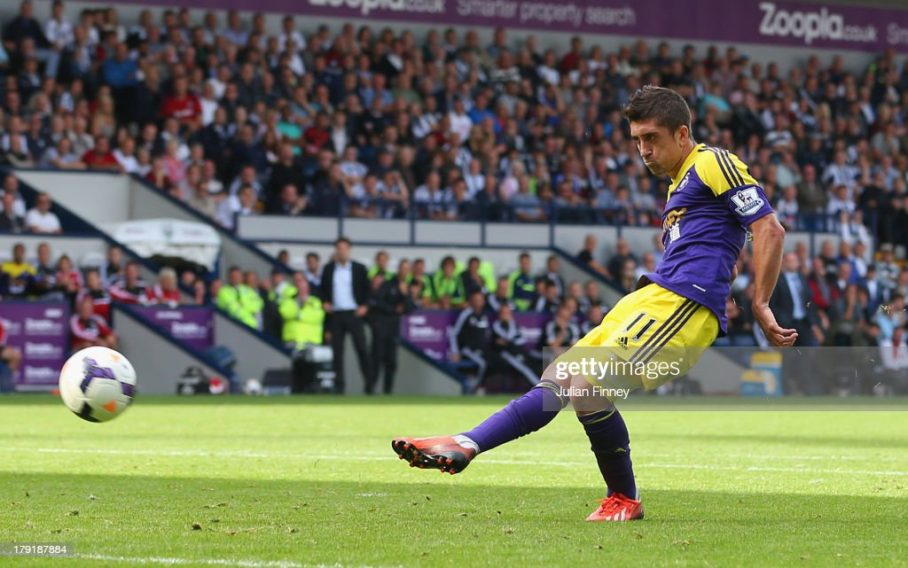 Pablo Hernandez of Swansea scores their second goal during the Barclays Premier League match between West Bromwich Albion and Swansea City at The Hawthorns on September 01, 2013 in West Bromwich, England.