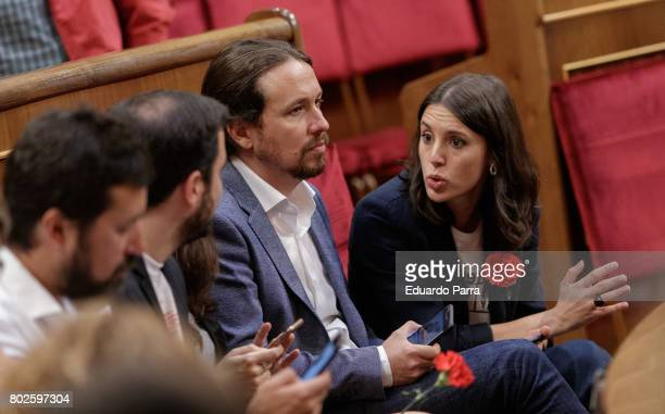 Pablo Iglesias and Irene Montero attend the commemoration of first democracy election at Congress of deputies on June 28 2017 in Madrid Spain