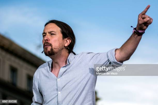Pablo Iglesias leader of Podemos during a demonstration supporting a vote of no confidence to President Mariano Rajoy