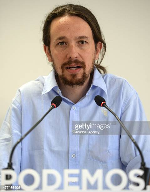 Pablo Iglesias leader of the Podemos and Estefania Torres attend a press conference in Madrid Spain on June 17 2015 Third biggest political party...