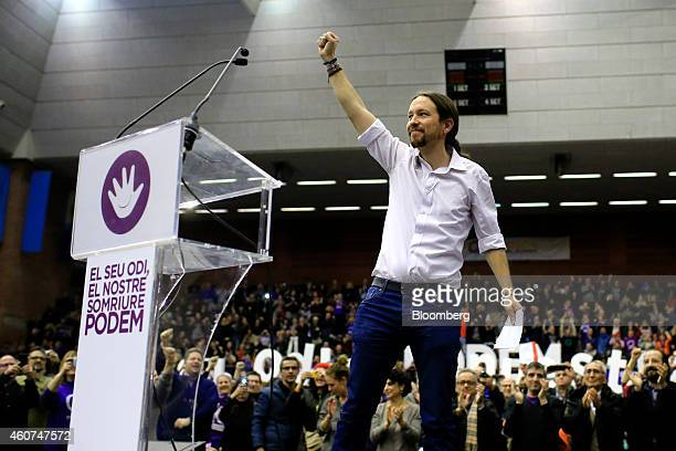 Pablo Iglesias secretary general of the Podemos party gestures as he begins to speak at a party conference in Barcelona Spain on Sunday Dec 21 2014...