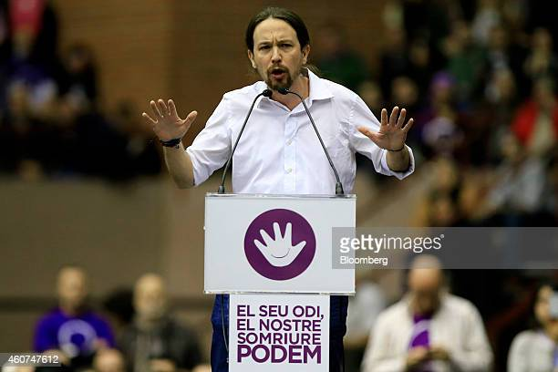 Pablo Iglesias secretary general of the Podemos party gestures as he speaks during a party conference in Barcelona Spain on Sunday Dec 21 2014...