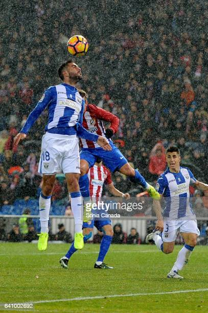 Pablo Insua #18 of CD Leganes during The La Liga match between Atletico Madrid v CD Leganes at Vicente Calderon on February 04 2017 in Madrid Spain