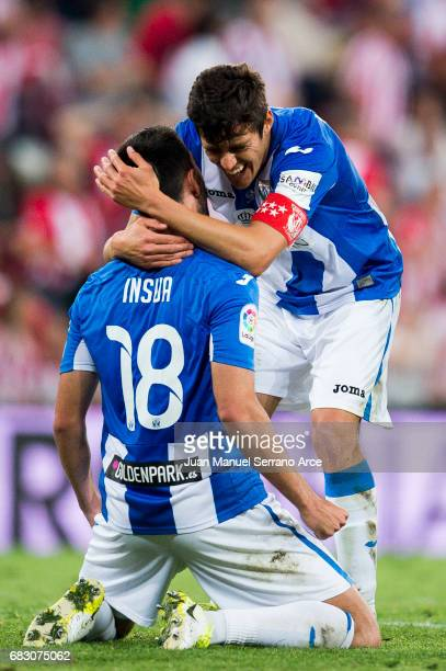 Pablo Insua and Martin Mantovani of Club Deportivo Leganes reacts during the La Liga match between Athletic Club Bilbao and Club Deportivo Leganes at...