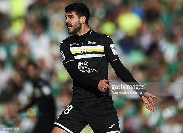 Pablo Insua of CD Leganes reacts during La Liga match between Real Betis Balompie v CD Leganes at Benito Villamarin Stadium on January 8 2017 in...