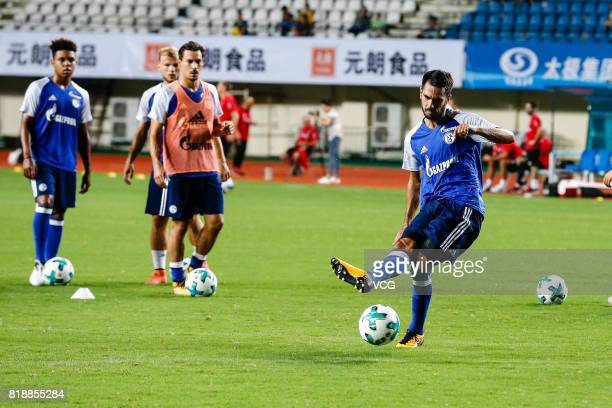 Pablo Insua of FC Schalke 04 warms up prior to the 2017 International soccer match between Schalke 04 and Besiktas at Zhuhai Sports Centre Stadium on...