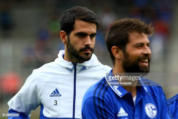 Pablo Insua of Schalke is seen prior to the preseason friendly match between SpVgg Erkenschwick and FC Schalke 04 at Stimberg Stadium on July 8 2017...