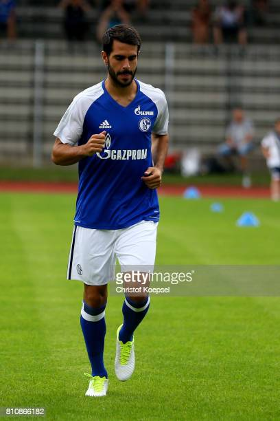 Pablo Insua of Schalke runs prior to the preseason friendly match between SpVgg Erkenschwick and FC Schalke 04 at Stimberg Stadium on July 8 2017 in...