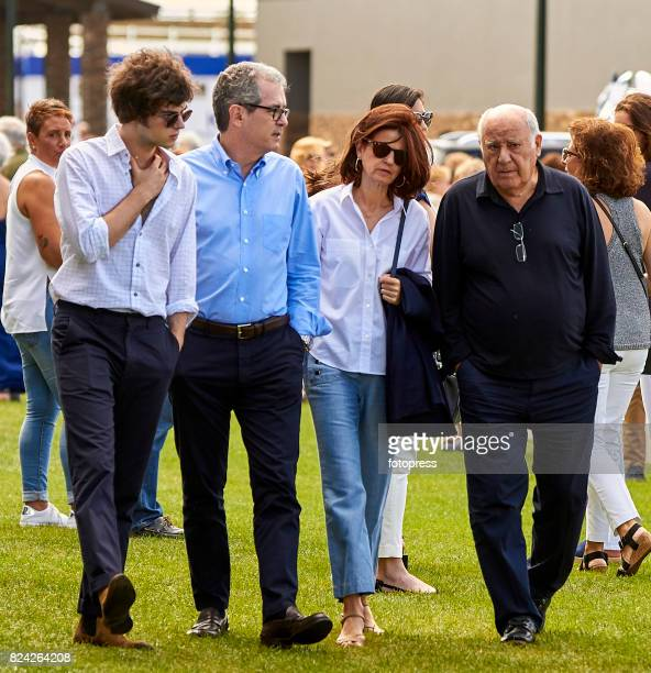 Pablo Isla with his wife Maria de la Vega and son Santiago Isla next to Amancio Ortega attend during CSI Casas Novas Horse Jumping Competition on...