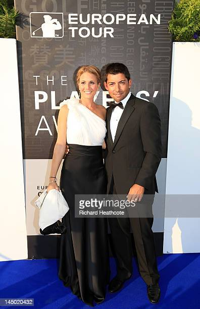 Pablo Larrazabal and girlfriend Gala Ortin arrive at the European Tour Golfer of the Year Awards dinner at the Sofitel Hotel London Heathrow on May...