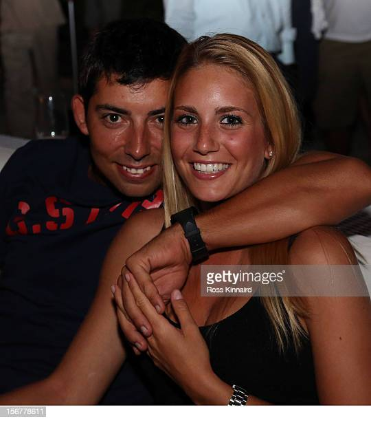 Pablo Larrazabal of Spain and his girlfriend Gala Ortin during the proam party prior to the DP World Tour Championship on the Earth Course at...