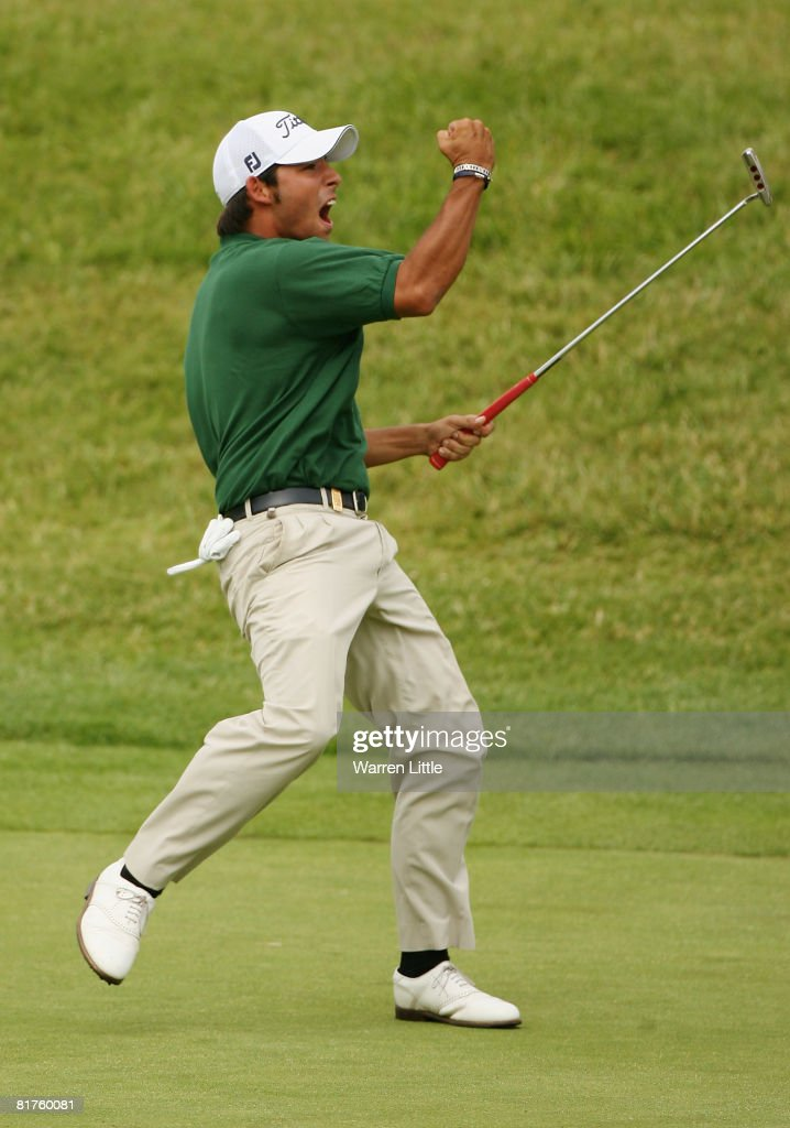 Pablo Larrazabal of Spain celebrates a huge birdie putt ensuring victory on the 16th green during the final round of the Open de France ALSTOM at the...