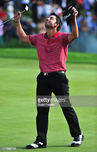 Pablo Larrazabal of Spain celebrates holeing the winning putt during the playoff against Sergio Gracia of Spain after the final round of the BMW...