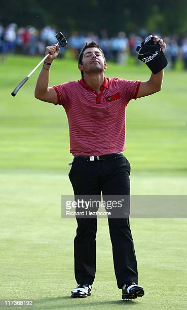 Pablo Larrazabal of Spain celebrates victory on the 5th playoff hole during the final round of the BMW International Open at Golfclub Munchen...