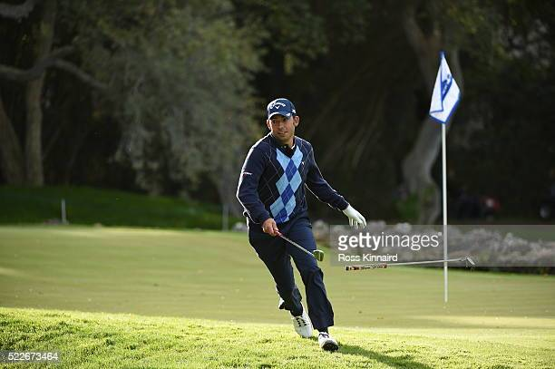 Pablo Larrazabal of Spain during the Guiness World Record attempt at the fastest par five hole of 500 yards prior to the Open de Espana at Real Club...