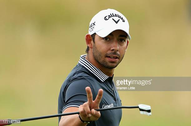 Pablo Larrazabal of Spain gestures during the first round of the Johnnie Walker Championship at Gleneagles on August 22 2013 in Auchterarder Scotland