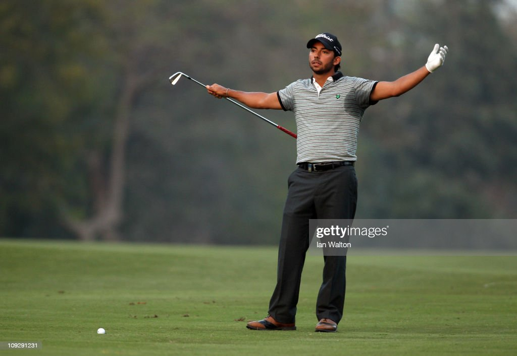 Pablo Larrazabal of Spain gestures during the third round of the Avantha Masters held at The DLF Golf and Country Club on February 19 2011 in New...