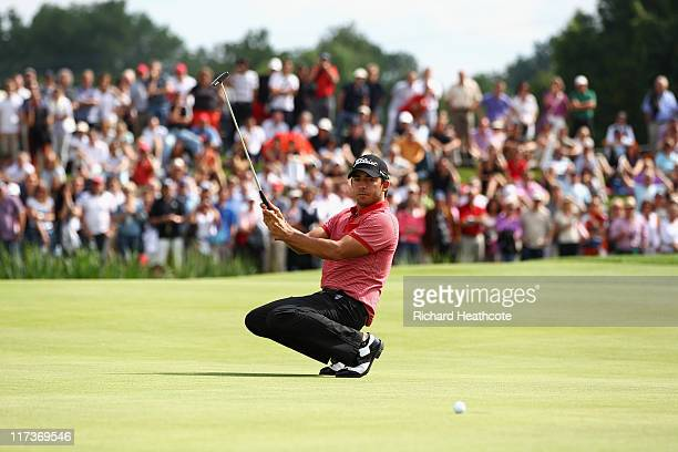 Pablo Larrazabal of Spain goes down on his kness as he just misses a birdie putt to win on the 18th green during the final round of the BMW...