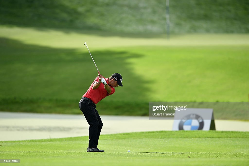 Pablo Larrazabal of Spain hits an approach during the rain delayed third round of the BMW International Open at Gut Larchenhof on June 26, 2016 in Cologne, Germany.