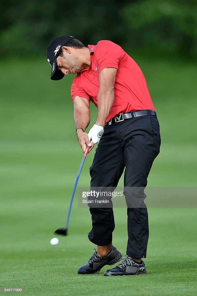 <a gi-track='captionPersonalityLinkClicked' href=/galleries/search?phrase=Pablo+Larrazabal&family=editorial&specificpeople=4022842 ng-click='$event.stopPropagation()'>Pablo Larrazabal</a> of Spain hits an approach shot during the rain delayed third round of the BMW International Open at Gut Larchenhof on June 26, 2016 in Cologne, Germany.